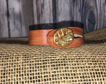 Genuine Leather Gold Leaf Bracelet
