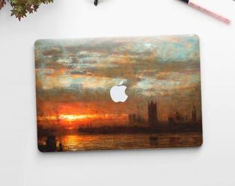 """Albert Goodwin, """"Westminster Sunset"""". Macbook Pro 15 decal, Macbook Pro 13 decal, Macbook 12 decal. Macbook Pro decal. Macbook Air decal."""
