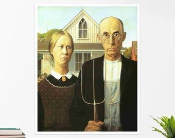 "Grant Wood, ""American Gothic"". Art poster, art print, rolled canvas, art canvas, wall art, wall decor"