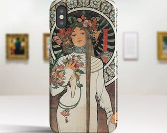 "Alphonse Mucha, ""La Trappistine"". iPhone X Case Art iPhone 8 Case iPhone 7 Plus Case and more. iPhone X TOUGH cases. Art iphone cases."