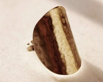 Gold (Handmade ring. Brass metal. Sterling silver. Hammered)