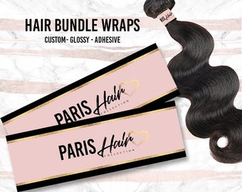 Hair Bundle Wraps - Hair Extension Wraps with Adhesive - CUSTOM Glossy Hair Bundle Wraps - Free Shipping