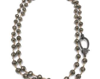 Long diamond pyrite necklace, Pave diamond necklace, Layer necklace, Rosary chain, Diamond necklace