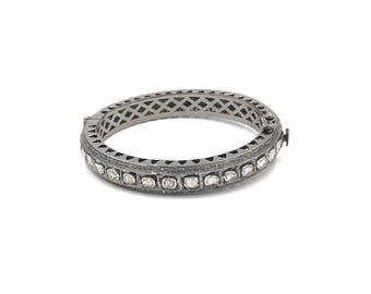 Stacking diamond bracelets, Sterling silver diamond bracelet