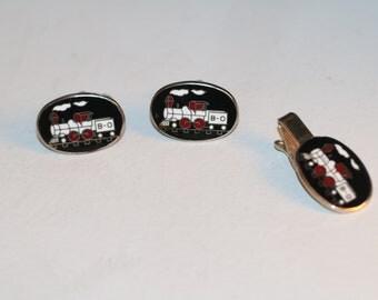 Vintage Train Engine Cufflinks Cuff links and Tie Tack Set Gift,  Train Lover Engineer Gift, Train Cufflink Set