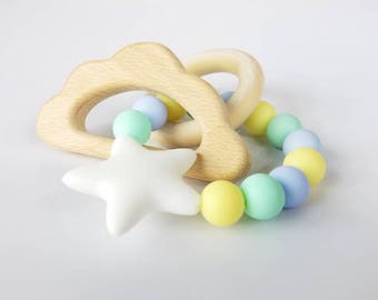Teething toy  Silicone wooden teether  Wooden cloud silicone star  Candy color  Baby boy teether  Teething ring