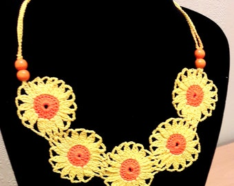 One of a kind sunflower necklace