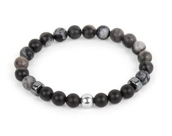 Black Network Agate Men's Bracelet