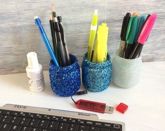 Glitter jar set, Pen holder, bathroom accessories, bathroom set, desk organzier, pencil holder, desk set, mason jar decor, home decor, gift