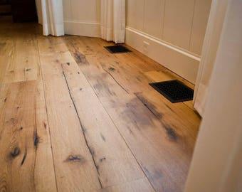 Ready to Install Reclaimed Wood Floor, Rustic Oak Floor, Skip Planed, Barnwood Flooring, Hardwood Floor, Reclaimed Oak Floor, Oak Floor