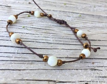 Delicate White and Brown Bracelet