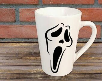 Scream Ghostface Horror Mug Coffee Cup Halloween Gift Home Decor Kitchen Bar Gift for Her Him Any Color Personalized Custom
