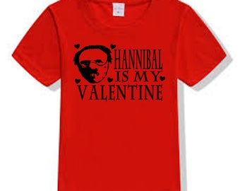 Hannibal Lecter Silence of the Lambs Cannibal Valentine's Day T Shirt Clothes Many Sizes Colors Custom Horror Halloween Merch Massacre