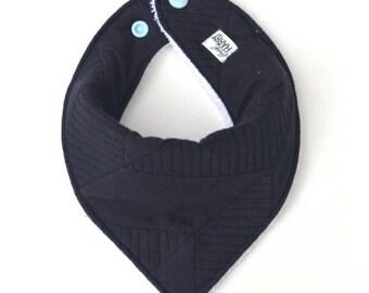 Billy Bandana Dribble Bib - Textured Jersey Navy Blue