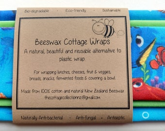 Beeswax Food Wraps 'Finding Nemo' - eco-friendly alternative to plastic cling wrap