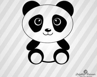 Sitting Baby Panda - Dxf,  Svg,  Eps,  Rld, RDWorks, Pdf, Png and AI Print Files, Digital Cut, Vector File, Svg File, Cricut Svg
