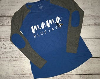 Mama Bluejay Long Sleeve T-Shirt / School Spirit Apparel / School Shirt / Mama Shirt / Sports Mom T-Shirt / Mascot T-Shirt / Elbow Patches