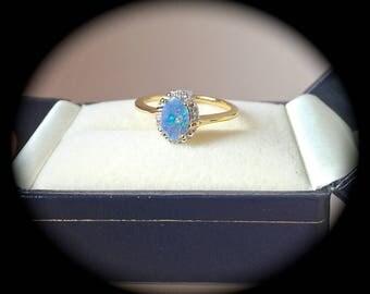 Australian Boulder Opal Ring 9ct Y Gold Size L (US 6)  'CERTIFIED' Fab Pin Fire!
