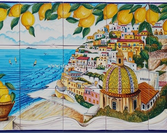 Beautiful tile mural of Positano. Hand painted home decoration in Italy. Custom tile. Wall mural art. Decorative tile art.