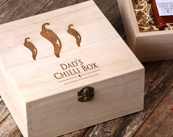 Dad's chilli sauce gift box with hot chilli sauces, condiment set, gift for him