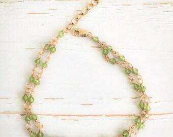 Peridot wire-wrapped bracelet