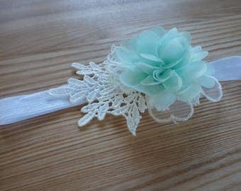 Baby Girl Teal/Aqua Flower and White Lace Headband