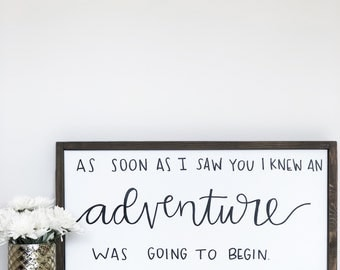 Adventure Hand Lettered Wood Framed Canvas