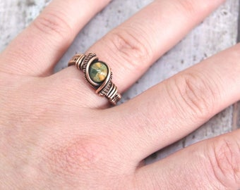 Wire Weave Ring, Rhyolite Ring, Men's Ring, Ladies Ring, Wire Wrapped Ring, Festival Fashion, Gemstone Wire Wrap, Rhyolite Jewelry, Bohemian