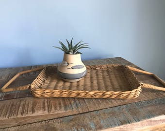 Vintage Wicker Bamboo Tray Handles Basket // Boho Decor // Bohemian Gypsy Style