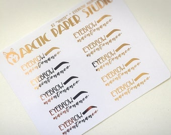 Eyebrow Maintenance - Functional Icons - FOILED Sampler Event Icons Planner Stickers