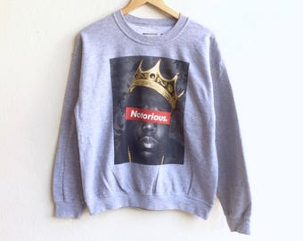 Rare! BROOKLYN mint like SUPREME notorious big logo sweatshirt gray colour medium size