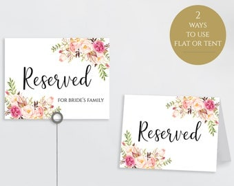Reserved Printable Reserved Wedding Sign Reserved Table Sign Wedding Printable Wedding Template Instant Download Editable PDF Pastel Blooms
