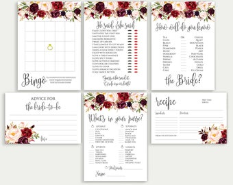 Bridal Shower Games Bridal Shower Game Set Bridal Game Set Bridal Games Bundle Printable Bridal Games Bridal Tea Games Floral Game Set DIY