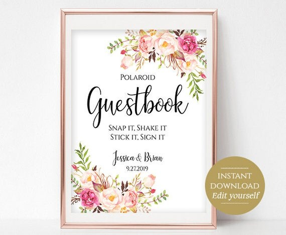 Polaroid Guestbook Sign Template Printable Guest Book Wedding