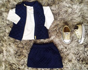 Little Girl Navy Blue 2 piece Skirt & Vest set