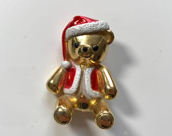 Christmas Teddy Bear Pin/ Brooch with Red Santa Hat Signed AJC