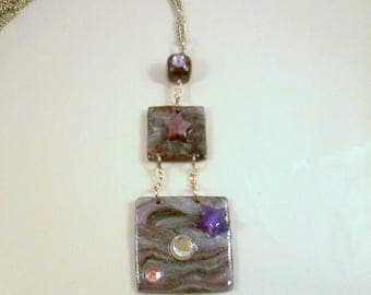 Purple and black square pendant and stars