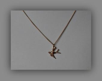 Rose Gold Bird Necklace,Tiny Rose Gold Vermeil Swallow Necklace Pendant Jewelry
