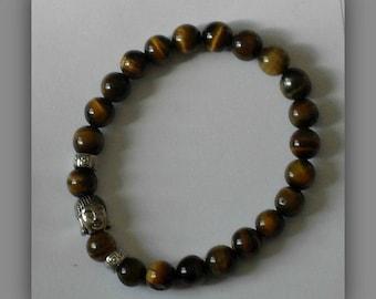 Tigers Eye Buddha Bracelet,Tigers Eye Crystal beaded Bracelet,Tigers Eye Jewelry,Brown Crystal Bracelet