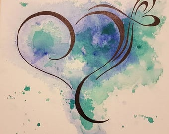 Washed Out Heart, green heart, acrylic and ink,  nursery art, baby's room decor, gift for father, Valentine's gift, gift of love,  love