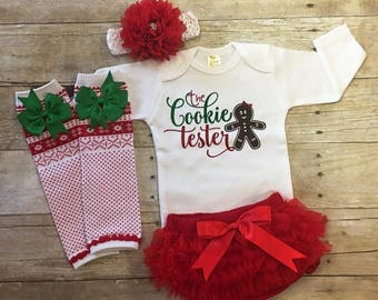 Newborn Christmas Outfit, Baby Girls Christmas Outfit, Cookie Tester, Baby Santa Outfit, Baby Girls Outfit, Baby Christmas Outfit, Baby Gift