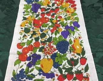 Vintage Kaydee Hand Printed Linen Tea Towel with Fruit by Hofflander  T26