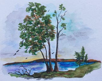 Lake Scene/Watercolor and Ink/5 x 7 painting/Watercolor painting/Nature scene/Landscape art/home decor/Lake painting/landscape watercolor