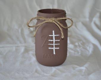 Painted Football Mason Jar