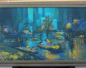 Mid Century Modern Original Paris Cityscape Painting in Acrylic Signed