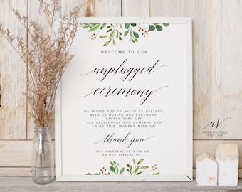 4 Sizes Greenery Unplugged Wedding Sign Unplugged Ceremony Unplugged Wedding Unplugged Sign Wedding No Cell Phone Sign #U01