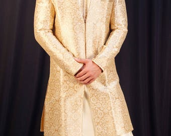 Beige brocade silk sherwani, ethanic indian wear, indian kurta pajama,traditional men's clothing.