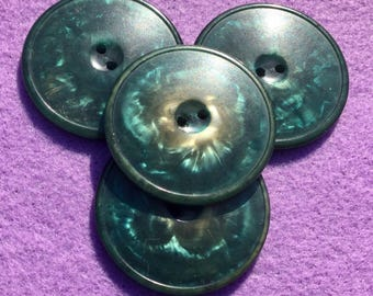 Buttons, (4) Four buttons, Large buttons, Turquoise buttons, green buttons, Vintage buttons, 1 5/8 inch buttons