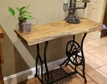 Live Edge Sewing Machine Table