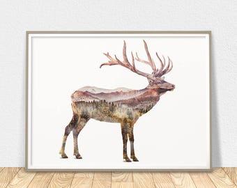 Deer Print - Printable Wall Art, Deer Silhouette, Deer Poster, Elk Poster, Nursery Deer Decor, Elk Wall Art, Animal Print, Deer Printable
